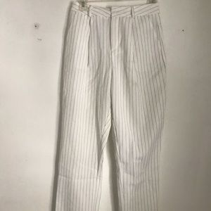 Worn only once white with black striped pants